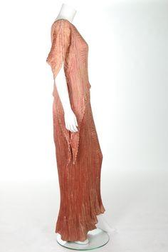 1920 Mariano Fortuny rose pink silk Peplos dress