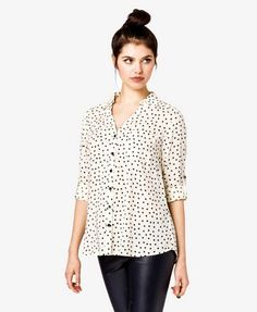 Polka Dot 3/4 Length Shirt | FOREVER21 Got in a large for maternity. so cute.