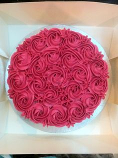 Red Velvet cake. #buttercream #rosettes #pink #cream #wilton