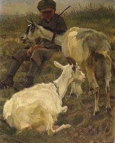 Julius Paul Junghanns: Kleiner Ziegenhirte mit zwei Tieren aus unserer Rubrik: Gemälde des 19. Jahrhunderts