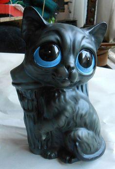 Vintage Enesco Pity Kitty Trash Can Ceramic Planter Vase Big Eye Black Cat Awwww