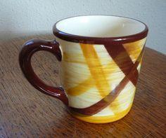 "ORGANDIE PLAID - Vintage COFFEE MILK 3.5"" MUG - VERNONWARE METLOX POPPYTRAIL EUC #VernonwareMetlox"