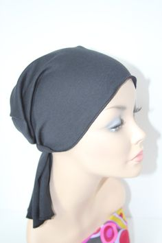 Chemo Hat Cancer Cap Cotton Knit in Black Men Women Beanie Scarf Dickie Do Rag Headband Free Ship in USA. $12.00, via Etsy.
