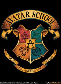 """""""Avatar School"""" by Typhoonic Art. (Avatar: The Last Airbender in the style of Harry Potter's Hogwarts School crest.) [Sold at OnceUponATee] except hufflepuff is earth, slytherin is water, and ravenclaw is air. Avatar Aang, Avatar Airbender, Team Avatar, Avatar Disney, Fan Art Avatar, Narnia, Legend Of Aang, The Big Theory, Arte Ninja"""