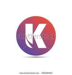 initial letter k creative circle logo typography design for brand and company identity. gradient red and purple color