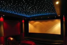 Have you considered a Fiber Optic Star Ceiling Home Theater Construction Home Design, Home Theater Design, Interior Design, Movie Theater Rooms, Cinema Room, Movie Rooms, Sky Ceiling, Ceiling Lighting, Starlight Ceiling