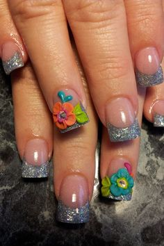 Acrylic nails. I do NoT like the 3-D but I really like these colors :)