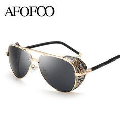 Gothic Steam Punk Glasses Brand Designer Vintage Summer Women Men Steampunk Sunglasses