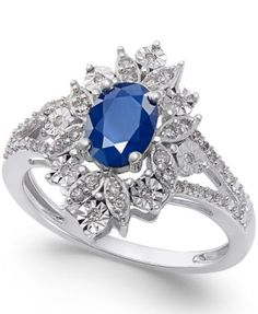 Sapphire (1 ct. t.w.) and Diamond (1/5 ct. t.w.) Ring in 14k White Gold