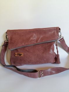 Leather women bag- READY TO SHIP-Foldover bag-Tote cross body bag-Women's gif-Everyday bag-Genuine leather
