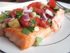 Salmon with fresh tomato-avocado salsa - one of my favorite ways to eat salmon!