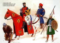 German knight with Sicilian Saracen horse archer and crossbow, and Tunisian Berber bodyguard