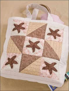 Starfish Beach Tote ~ Use those leftover scraps to make a patchwork block as the front side of a sturdy canvas beach tote.