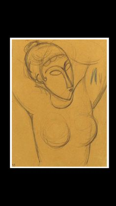 """Amedeo Modigliani - """" Cariatide """", 1913/1914 - Pencil and blue wax crayon on paper mounted at the edges on paper - 26,8 x 20,3 cm"""