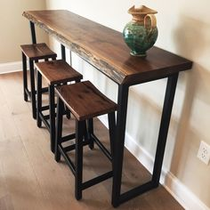 Sofa Tables Are Important Part Of Home Furniture Wood Bar Table, Slab Table, Wooden Tables, Bar Table Diy, Wood And Metal Table, Bar Table And Stools, Couch Table, Sofa Tables, Bar Tables