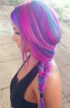 Pink, purple and blue.