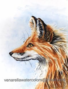Red Fox Mother Watercolor Painting Giclee Print on watercolor paper mounted on white or black mat ready  to slip into a standard frame