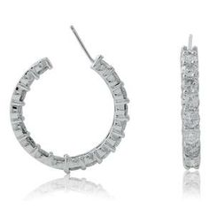 #Malakan #Jewelry - White Gold Diamond Hoop Earrings 25548AI #Earrings #Hoops #Fashion