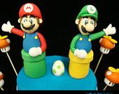 Mario and Luigi Cake Toppers  By my good friend Laura @ Krazy Kool Cake Designs