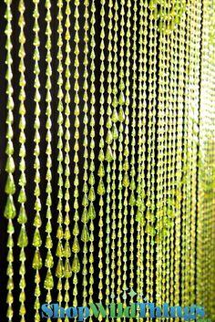 Raindrops Beaded Curtain - Lime Green Iridescent - 3' x 6'