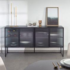 Small Sideboard, Wood Sideboard, Credenza, Minimalist Design, Modern Design, Home Design, Style Noir, Industrial Furniture, Adjustable Shelving