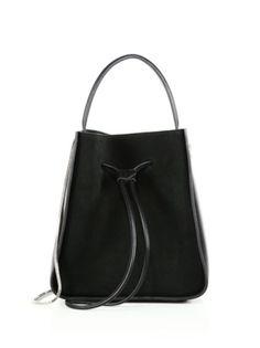 e0dd17695b55 3.1 Phillip Lim - Soleil Leather Drawstring Bucket Bag Black Shoulder Bag
