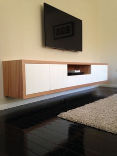 Inglewood - Australian Made Tassie Oak Hardwood Timber 4 Door Wall Mounted TV Unit - TV Cabinets & Entertainment Units Tv Stand Modern Design, Tv Stand Designs, Tv Unit Design, Tv Wall Design, Tv Design, Design Ideas, Design Moderne, Deco Design, Muebles Rack Tv