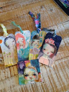 Mermaid original art tag by Mindy Lacefield by mindylacefield Old Book Art, Doodle Girl, 2nd Grade Art, Collage Art Mixed Media, Bullet Journal Art, Handmade Tags, Artist Trading Cards, Art Journal Inspiration, Journalling
