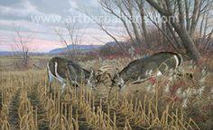 Battling Bucks - Whitetail Deer art print by Michael Sieve Hunting Art, Deer Hunting, Hunting Stuff, Wildlife Paintings, Wildlife Art, Whitetail Deer Pictures, Deer Pics, Hunting Drawings, Deer Wallpaper