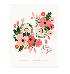 Custom Floral Illustrated Portrait Print