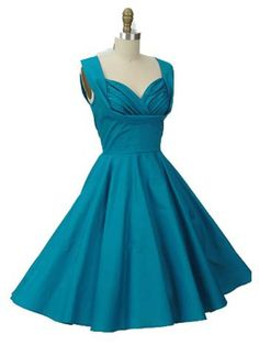 50s Inspired Teal Blue Swing Dress