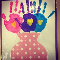 mother's day hand print vase