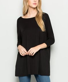Look what I found on #zulily! Black Three-Quarter Sleeve Tunic - Plus by Acting Pro #zulilyfinds