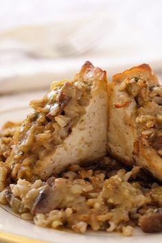 Tofu Stuffed with Brown Rice and Mushroom Dressing | recipe from FatFree Vegan Kitchen