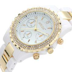 MILER Fashion Crystal False Three Eyes Round Dial Analog Quartz Women Elegant Watch