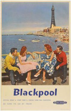 Original Railway Poster Blackpool - Be Sure To Go By Train Posters Uk, Train Posters, Railway Posters, Vintage Travel Posters, Vintage Postcards, British Seaside, British Travel, Travel Uk, Ocean Projects