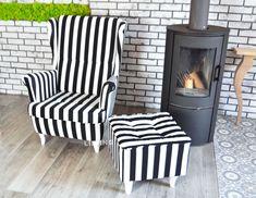 😍 FOTELE USZAK w pięknych czarno białych pasach 😍 Tkanina Plusz Velvet  👉 fotel z wciągami na oparciu 👉 fotel na sprężynie falistej , bardzo wygodny,duży i komfortowy Armchair, Home Appliances, Wood, Furniture, Home Decor, Sofa Chair, House Appliances, Single Sofa, Decoration Home