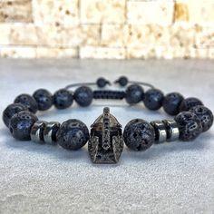Mens Spartan Bracelet Mens Lava Bracelet Hematite by Miaudesignco