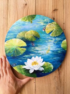 Original koi fish and white water lily acrylic painting on round canvas panel. Canvas Painting Designs, Cute Canvas Paintings, Acrylic Painting Canvas, Canvas Art, Koi Painting, Acrylic Painting Inspiration, Nature Paintings, Feng Shui Paintings, Bird Canvas