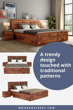 Morse bed with storage is distinguished furniture design. Its headboard and footboard are made with embossed pyramids over it. The furniture is also coated in wood grain pattern. Made from Sheesham wood, the furniture is very durable. ​With this, finish options of honey, teak, walnut, and mahogany add a cherry on top of the cake.