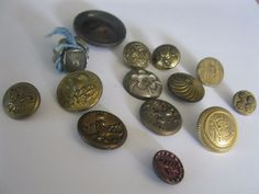 Lot of 16 Vintage Metal Buttons Assortment Sizes Brass Military Picture