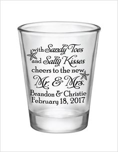 Beach Wedding Favors Shot Glasses  Sandy Toes & Salty by Factory21