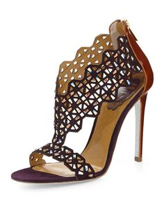 Laser-Cut Crystal-Covered Suede Sandal, Purple by Rene Caovilla at Neiman Marcus.
