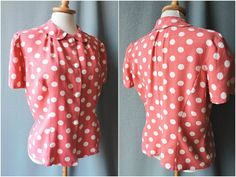 True vintage blouse lines early 1950s pink by GoodyGoodyBerlin