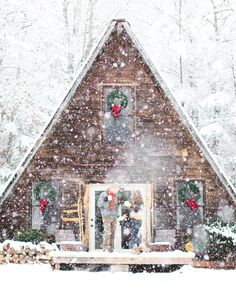 We've rounded up 23 gorgeous photos of A-frames, from lakeside stunners to snowbound charmers. A Frame Cabin, A Frame House, Winter Cabin, Cozy Cabin, Winter House, Cozy Cottage, Cottage Living, Little Cabin, Little Houses