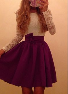 Bowknot Decorated Lace Splicing Skater Dress on sale only US$20.36 now, buy cheap Bowknot Decorated Lace Splicing Skater Dress at modlily.com