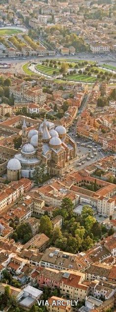 Aerial view of beautiful Padua, Veneto Region, Italy. Padua, a short train ride from Venice, makes an excellent base for exploring the Veneto Region of Italy. Places Around The World, The Places Youll Go, Travel Around The World, Places To See, Around The Worlds, Wonderful Places, Beautiful Places, Voyage Europe, Aerial View