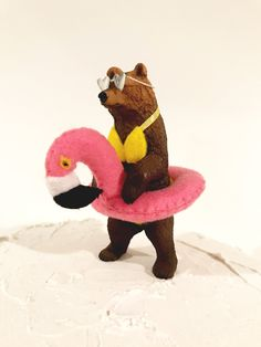 Grizzly Bear Cake Topper, Summer Cake Topper, Pool Party Cake Topper, Flamingo Birthday Cake T Wild One Birthday Party, Happy Birthday, Summer Birthday, Diy Birthday, Bear Birthday, Party Animals, Animal Party, Pool Party Cakes, Flamingo Birthday
