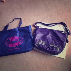 Priced down!  Steve Madden purple bag I bought it on last christmas day. I never used. Just put inside my closet. So, no where strains or brokens. Have dust bag also. :) Lmk if interested! Steve Madden Bags