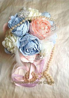 Large wedding bouquet peony Bespoke bridal by BespokeVintageCastle, £68.56